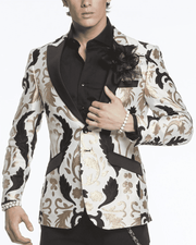 Men's Fashion Blazer Big Victorian White | ANGELINO