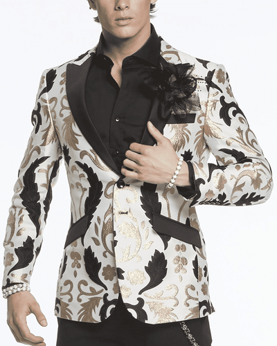 Men's Fashion Blazer-Big Victorian White