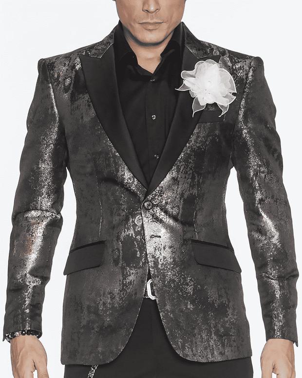 GRAY SPILLED, SPILLED, DRIPS OF SILVER, SPOTS OF GOLD, ARTISTIC SPILL AND DRIP, SPLATTER OF PAINT, artistic fashion blazer in dray, gold, peak lapel,single breast, structured, peak lapel, angle pockets, four buttons kissing sleeve, fully lined, english vent,