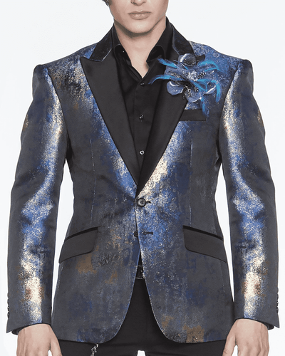 BLUE AND GOLD, SPRAY GOLD, GOLD SPRAY, SPRINKLES OF GOLD, SPILLED GOLD, single breast, structured, peak lapel, angle pockets, four buttons kissing sleeve, fully lined, english vent, blue blazer jacket for men peak lapel,