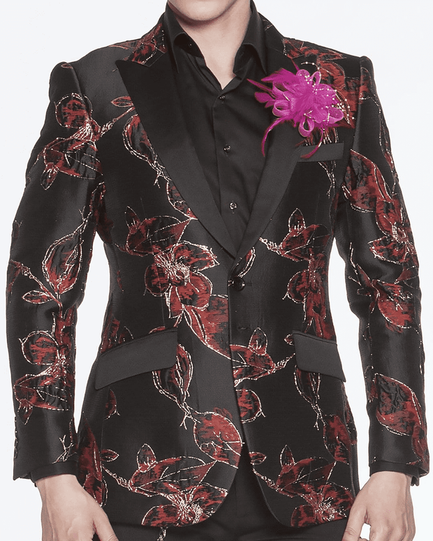 Mens Floral Blazer Kash Red Luxury peak lapel,single breast, fitted, peak lapel, angle pockets, four buttons kissing sleeve, fully lined, english vent, BLACK AND RED, GOLD TRIMMED FLOWERS, JASMINE FLOWER, SCRIBBLE FLOWERS, SCRIBBLE GOLD LINES