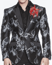 RED AND GRAY, BLACK, RED TRIMMED, GLITTER, GRAY FILL, FLOWER SKETCHING, Mens Floral Blazer Luxury peak lapel,single breast, structured, peak lapel, angle pockets, four buttons kissing sleeve, fully lined, english vent,
