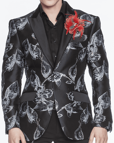 Blazer for men Black with grey flower and gold outline.