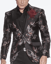 Blazer for Men Floral Blazer Black/Red