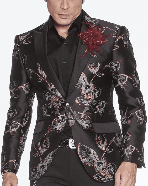 black fashion blazer men peak lapel,single breast, fitted, peak lapel, angle pockets, four buttons kissing sleeve, fully lined, english vent, GRAY AND BLACK, SILVER TRIMMED, SILVER LEAF, FLOWER SKETCH