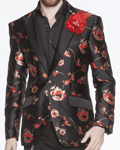 Blazer for men black with red and gold flowers