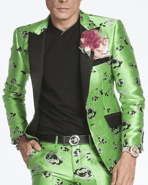 green sporty blazer,single breast, fitted, peak lapel, angle pockets, four buttons kissing sleeve, fully lined, english vent, BRIGHT GREEN, LIME GEEN, SILVER ROSES, GLITTER FLOWER, BLACK SATIN LAPELS, GREEN ROSES, CARNATION