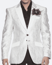 white blazer for men,single breast, structured, peak lapel, angle pockets, four buttons kissing sleeve, fully lined, english vent, GLITTER, SILVER, SHINY FLOWERS, WHITE SATIN, SILVER FLOWERS