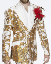 Men's Fashion Sequins Blazer-R. Sequins Gold