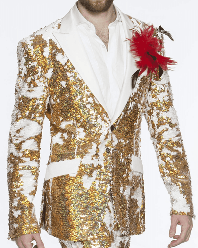 men's gold and white sequins blazer with white lapel and flap pockets