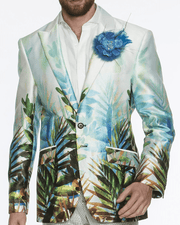 Fashion sport blazer printed tropical botanic design white green leaves sky blue white trim  black trim buttons clear buttons, silky touch fabric