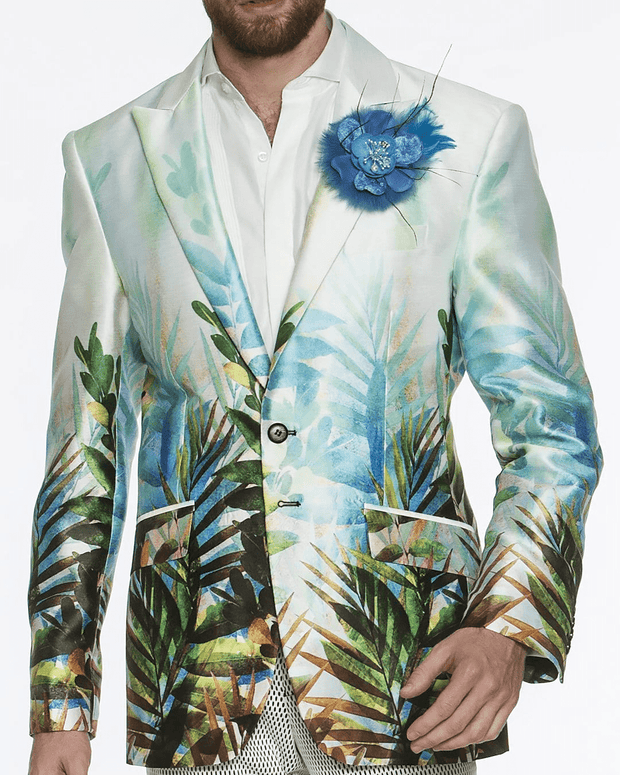 blazer for men, tropical botanic print on pastel light greenish blue fabric