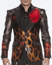 Men's Silk Blazer- Leopard design and black lapel.