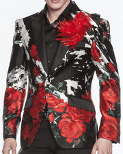silk blazer for men, Printed roses