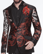 Men's Fashion Luxury Silk Blazer Jacket Fantasy - ANGELINO