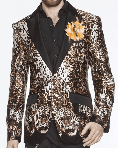 Men's Luxury Silk Blazer, hand printed fabric, tiger face and tiger animal print on black silk fabric