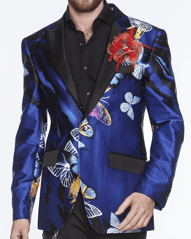 Men's Luxury Silk Blazer- Butterfly