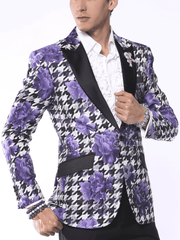 Fashion Blazer for Men, Hounds Flower Purple  - Tuxedo Jacket - Prom - Wedding - ANGELINO