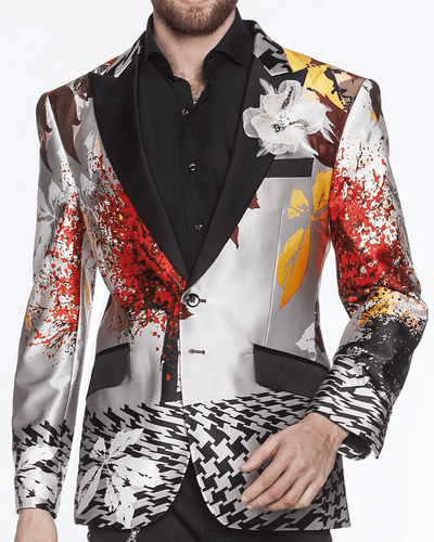 Silk printed floral blazer for men