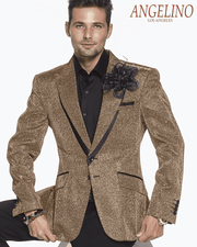 Shiny gold blazer for men snake camouflage crocodile print glitter look with black satin trim black buttons
