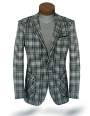 Men's plaid sport coat blazer Island Green