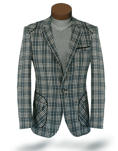 Men's plaid sport coat blazer Island Green - ANGELINO