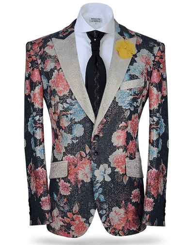 Sport Coat-Fall2  floral print with red blue white colors- ANGELINO