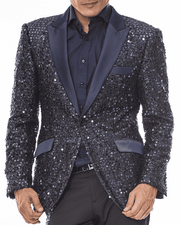 Men's Fashion Blazer, Sport Coat Stella Navy - Mens - Fashion - Jacket - ANGELINO