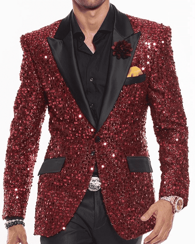Sequin Blazer for Men, Stella Red  - Blazers - Prom - Red - ANGELINO