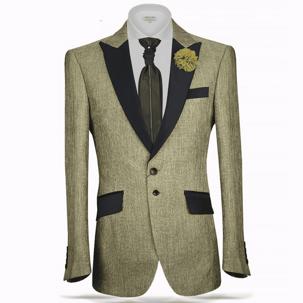 green linen feeling of fabric light and cool. it comes with black satin lapel and pocket flap. peak lapel