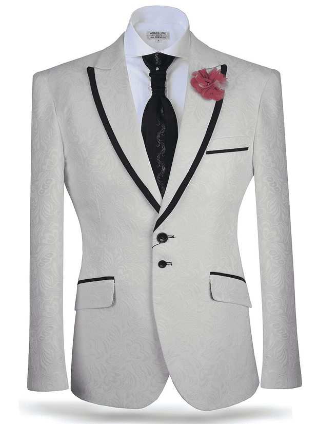 Men's Fashion Sport Coat/Blazer-Blossom White - ANGELINO