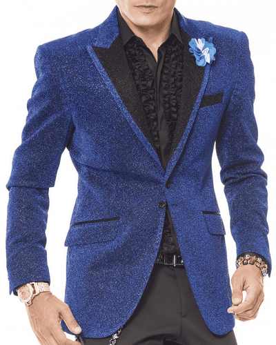 Men's Fashion Sport Coat/Blazer-Lurex Blue - ANGELINO