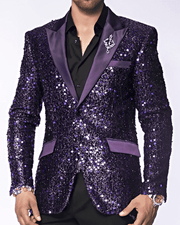 Sequin Blazer and Sport Coat-Stella Purple with purple lapel