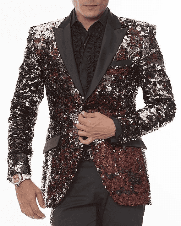 Funky Men's Blazer and Sport Coat-Sequins Vegas Red, shinny in red and in black and in silver sequins,
