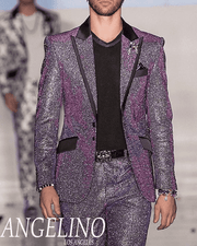 Mens Fashion Suit - Lucio silver and purple.                                                                   - Prom - Wedding - Tuxedo - ANGELINO