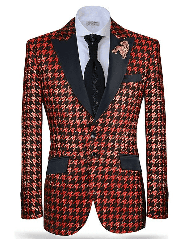 Fashion Suit, Hounds Red - Mens - Red - Blazer - ANGELINO
