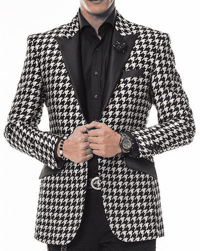 Men's fashion Suit Hounds Silver - ANGELINO