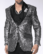 Men's Fashion Blazer and Sport Coat Stella Silver | ANGELINO