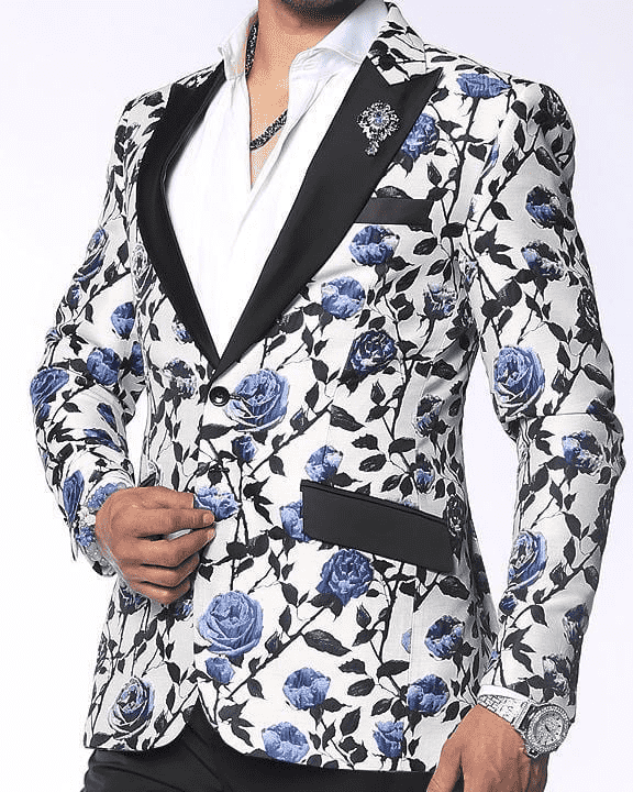 show stopping sports jacket blazer with blue flowers
