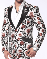 Men's Fashion Blazer and Sport Coat Valen White/Red - ANGELINO