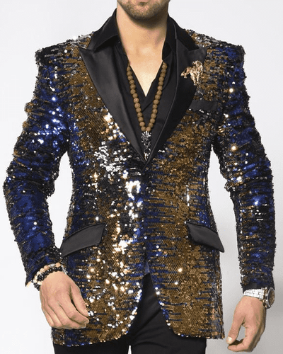 Sequin blazer, in Blue/Gold/Black with satin black lapel - ANGELINO