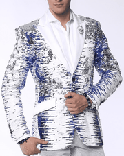 Sequins Blazer White, blue  with white lapel