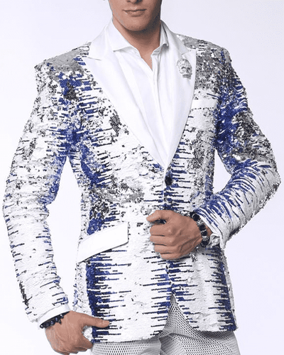Sequin Blazer White, blue  with white lapel