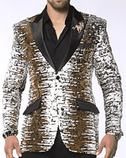 Sequin blazer for men Gold/White/Silver/Black color sequin fabric with black lapel - ANGELINO