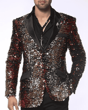 Mens Fashion Sequins Coat-Sic Gold/Red/Silver