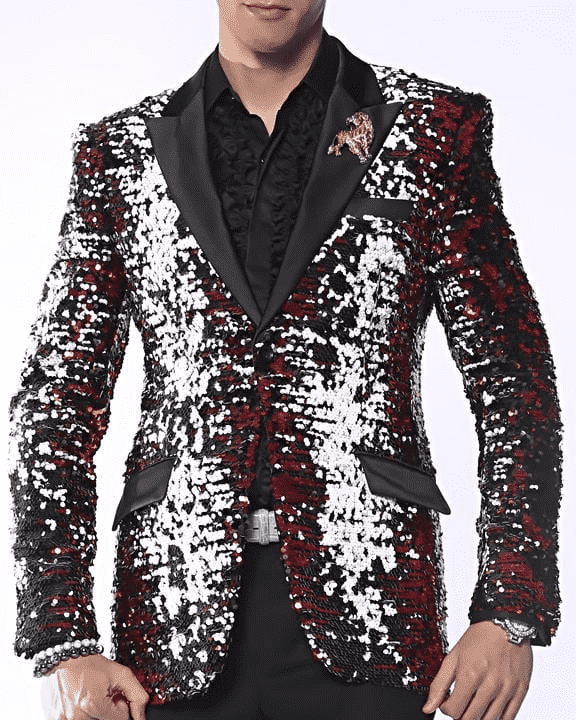 Mens Sequin Blazer and Sport Coat Sic Red/Black/White - ANGELINO