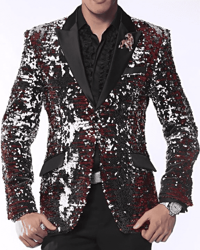 Men's New Fancy Fashion Blazer and Sport Coat Sic Red/Black/White/Silver - ANGELINO