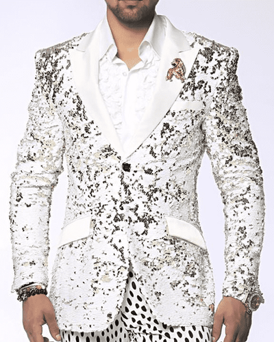 Fancy Fashion Blazer and Sport Coat-Sic White/Gold