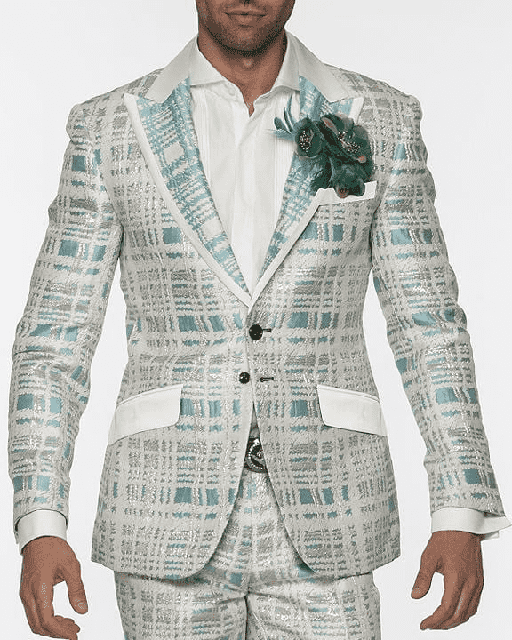 Men's Fashion Suit Maro Teal - ANGELINO