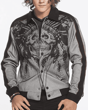 Men's Fashion Bomber Jacket Skull - ANGELINO